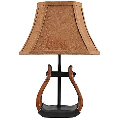 "Stirrup With Faux Suede 11""H Shade Mini Western Accent Lamp"