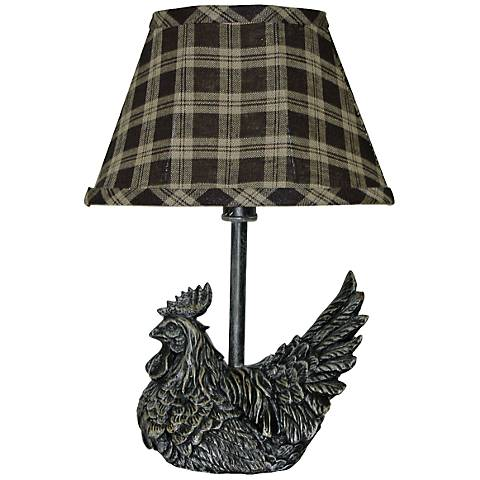 Mini Black Rooster With Plaid Shade Country Table Lamp