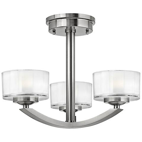 "Hinkley Meridian 16"" Wide Brushed Nickel Ceiling Light"