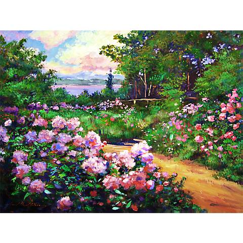 """Floral Path 20"""" Wide Impressionistic Giclee Wall Art"""
