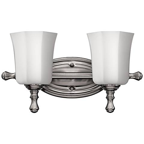 "Hinkley Shelly 16"" Wide Brushed Nickel 2-Light Bath Light"