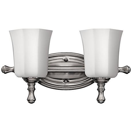 shelly 16 wide brushed nickel bathroom light 3j489 lamps plus. Black Bedroom Furniture Sets. Home Design Ideas