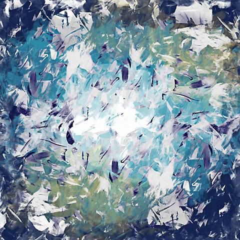 """Abstract Blue Whirlpool 24"""" Square Modern Giclee Wall Art"""
