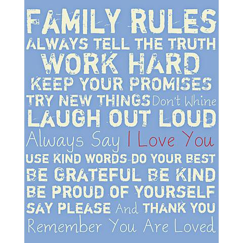 "Family Rules 40"" High Giclee Canvas Wall Art"
