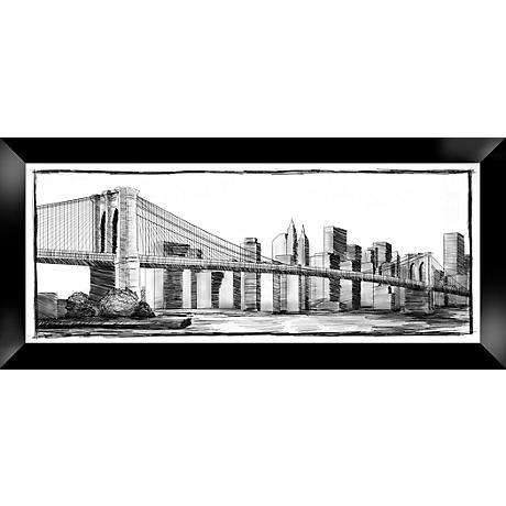 "Brooklyn Bridge 44 1/4"" Wide Giclee Framed Wall Art"