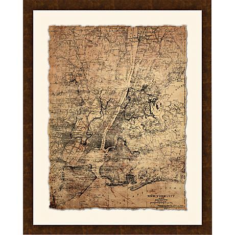 """New York City Map I 30 1/2"""" High Framed Giclee Wall Art"""