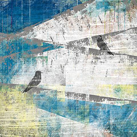 """Birds on a Wire 20"""" Square Abstract Giclee Wall Art"""