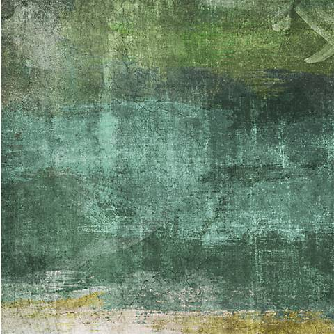 "Green Contemporary II 20"" Square Giclee Canvas Wall Art"