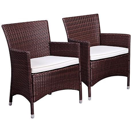 Atlantic Set of 2 Liberty Brown Wicker Arm Chairs