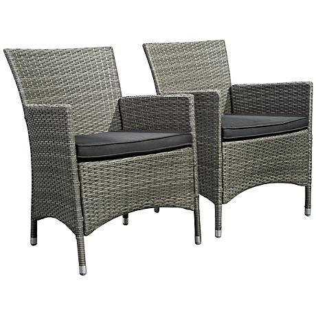 Atlantic Set of 2 Liberty Gray Wicker Arm Chairs