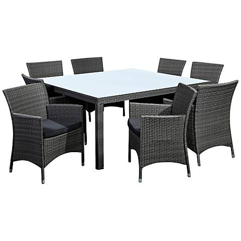 La Media 9-Piece Gray Wicker Patio Dining Set
