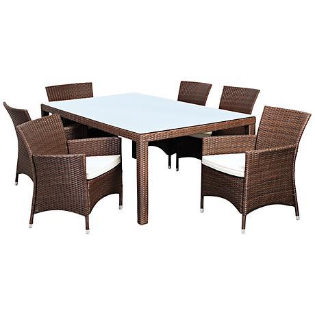 Atlantic Grand Liberty 7-Piece Brown Wicker Patio Dining Set
