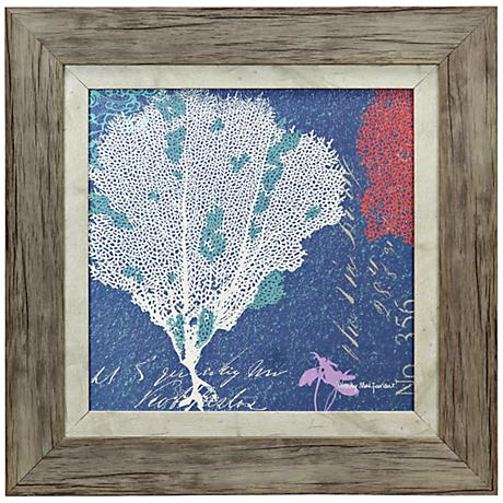 "Coral on Ocean Blue 18"" Square Framed Coastal Wall Art"