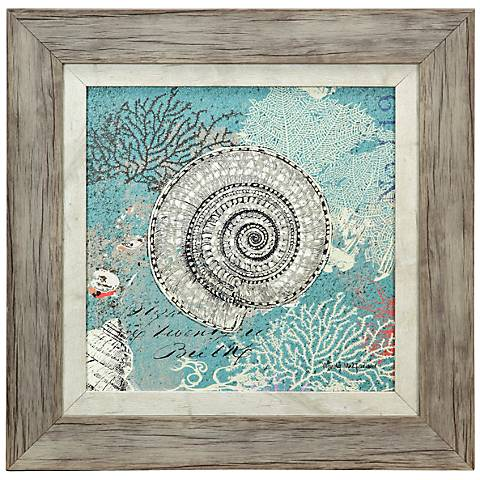 shells on aqua blue 18 square framed coastal wall art