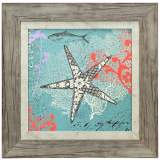 "Starfish on Aqua Blue 18"" Square Framed Coastal Wall Art"
