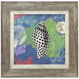 "Shells on Ocean Blue 18"" Square Framed Coastal Wall Art"