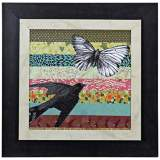 "Bookplate IV 18"" Square Framed Bird Wall Art"