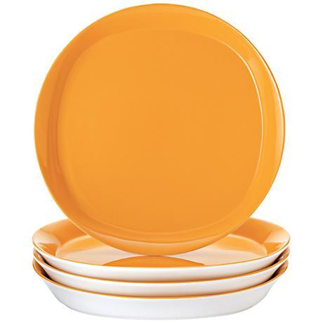 Rachael Ray Round/Square 4-Piece Lemon Zest Dinner Plate Set