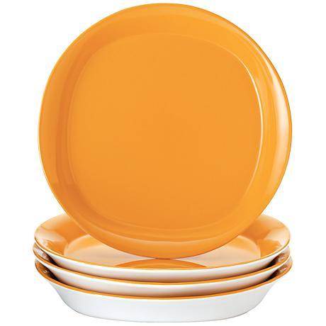 Rachael Ray Round/Square 4-Pc Lemon Zest Salad Plate Set