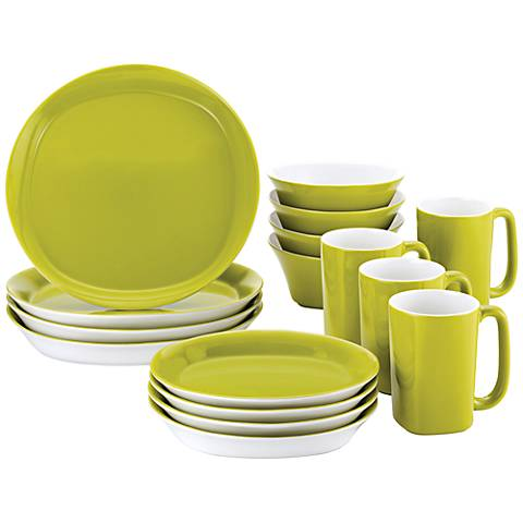 Rachael Ray Round/Square 16-Pc Green Apple Dinnerware Set