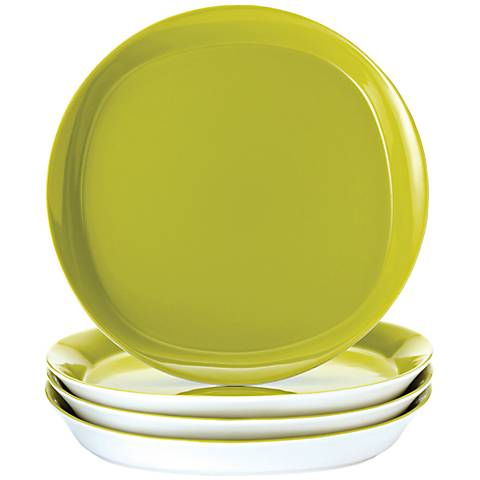 Rachael Ray Round/Square 4-Pc Green Apple Dinner Plate Set