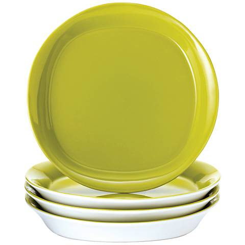 Rachael Ray Round/Square 4-Pc Green Apple Salad Plate Set