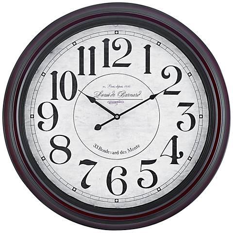 "Cooper Classics Calhoun Mahogany 24 1/2"" Round Wall Clock"