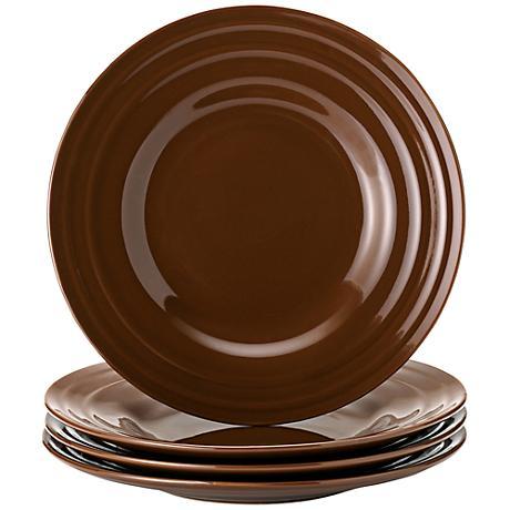Rachael Ray Double Ridge 4-Piece Brown Salad Plate Set