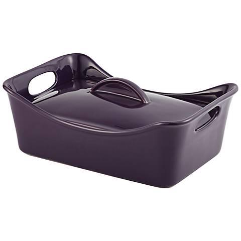 Rachael Ray Stoneware 3.5-Quart Covered Purple Casserole
