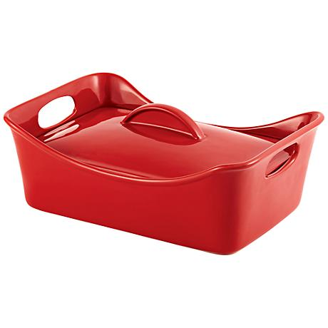 Rachael Ray Stoneware 3.5-Quart Covered Red Casserole