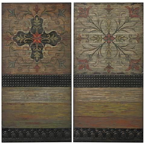 "Brickell Spanish Tile on Wood 40"" High Rustic Wall Art"
