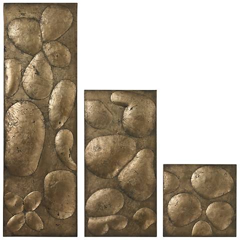 """Set of 3 Ramsey Gold Leaf 32"""" High Contemporary Wall Art"""
