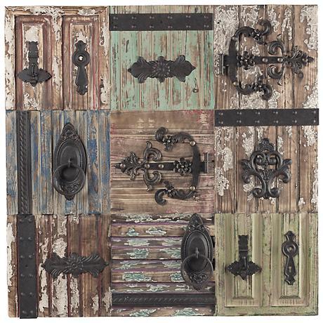 """Iron Door Hardware on Antiqued Tiles 36"""" Rustic Wall Art"""