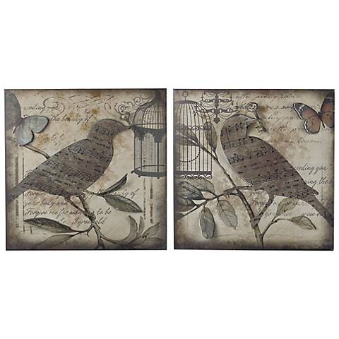 "Set of 2 Beleden 22"" Square Birds And Music Wall Art"