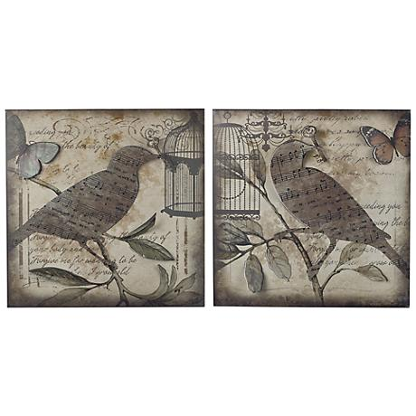 """Set of 2 Beleden 22"""" Square Birds And Music Wall Art"""