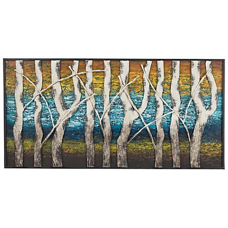 "Queen Lake White Birch 48"" Contemporary Metal Wall Art"