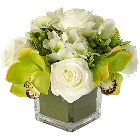 "White 8 3/4"" High Silk Roses in Glass Vase"