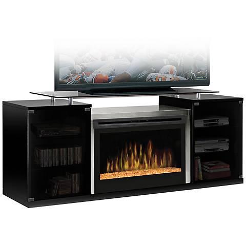 Marana Black Glass Ember Fireplace Media Console