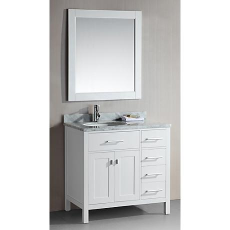 """London 36"""" Wide White Sink Vanity with Drawers on Right"""