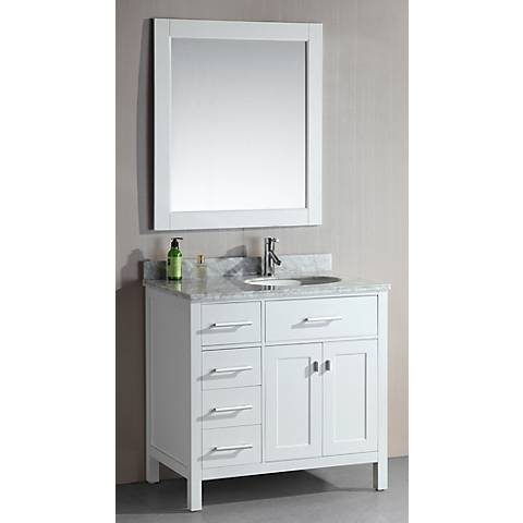 """London 36"""" Wide White Sink Vanity with Drawers on Left"""