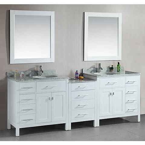 """London 92"""" Wide Marble White Double Sink Vanity"""