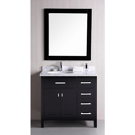 """London 36"""" Wide Espresso Sink Vanity with Drawers on Right"""