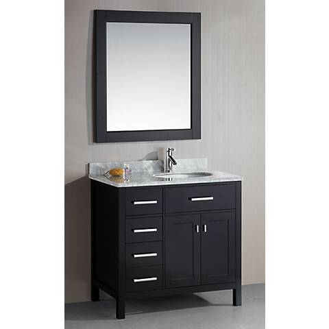 "London 36"" Wide Espresso Sink Vanity with Drawers on Left"