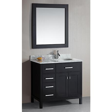 """London 36"""" Wide Espresso Sink Vanity with Drawers on Left"""