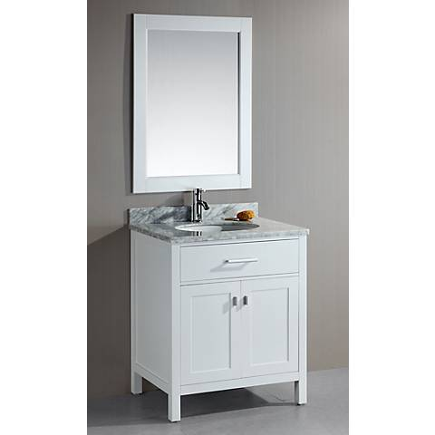 "London 30"" Wide White Single Sink Vanity Set"