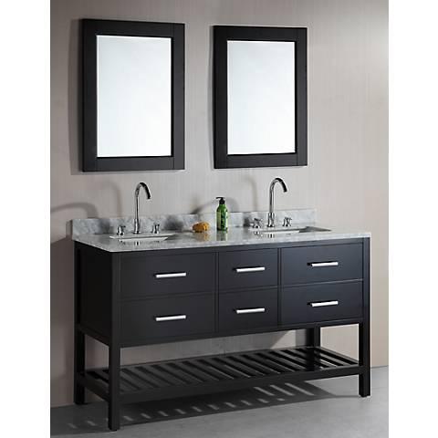 "London 61"" Wide Espresso Double Sink Open Vanity Set"