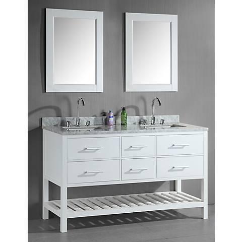 """London 61"""" Wide White Double Sink Open Vanity Set"""