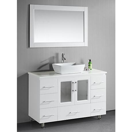 "Stanton 48"" Wide Single Vessel Sink White Vanity Set"
