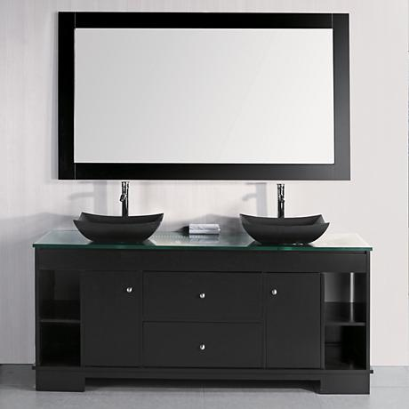 "Oasis 72"" Wide Decorative Double Sink Espresso Vanity Set"