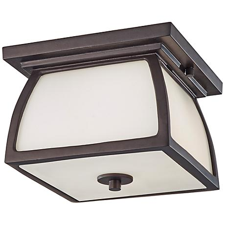 """Feiss Wright House 9"""" Wide Bronze Outdoor Ceiling Light"""
